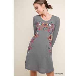 •Umgee• Webster Waffle Knit Embroidered Dress